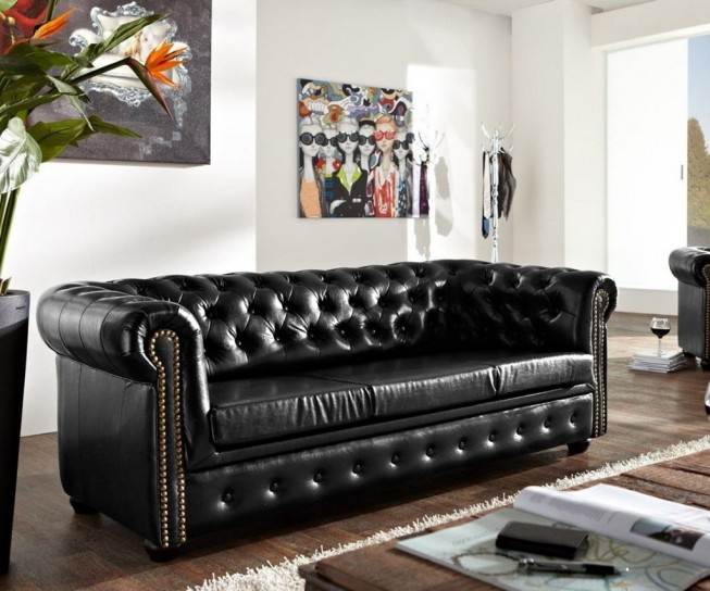 Pohovka Chesterfield Bis 3M Antique Black (1)