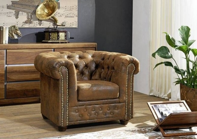 Křeslo 1M brown Chesterfield Oxford (10)