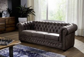 Pohovka 3M dark brown Chesterfield Oxford