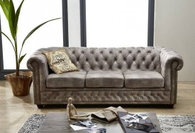 Pohovka 3M silver Chesterfield Oxford