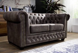 Pohovka 2M dark brown Chesterfield Oxford